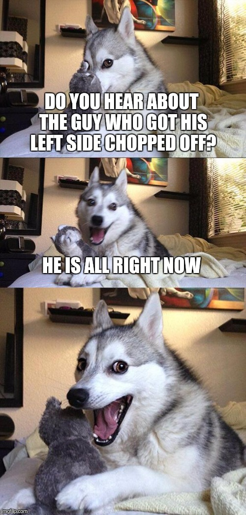 Bad Pun Dog Meme | DO YOU HEAR ABOUT THE GUY WHO GOT HIS LEFT SIDE CHOPPED OFF? HE IS ALL RIGHT NOW | image tagged in memes,bad pun dog | made w/ Imgflip meme maker
