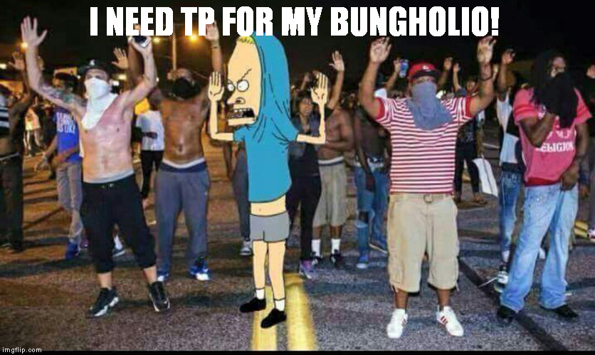 I NEED TP FOR MY BUNGHOLIO! | image tagged in beavis | made w/ Imgflip meme maker