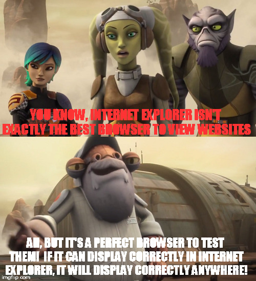 Hera and Quarrie |  YOU KNOW, INTERNET EXPLORER ISN'T EXACTLY THE BEST BROWSER TO VIEW WEBSITES; AH, BUT IT'S A PERFECT BROWSER TO TEST THEM!  IF IT CAN DISPLAY CORRECTLY IN INTERNET EXPLORER, IT WILL DISPLAY CORRECTLY ANYWHERE! | image tagged in memes,star wars,rebels,internet explorer | made w/ Imgflip meme maker