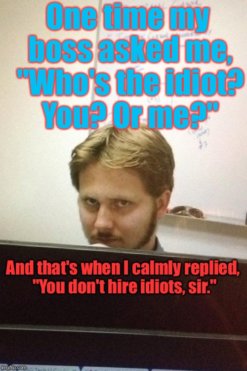 "And I Didn't Get Fired....I Quit A Month Later.  :) | One time my boss asked me, ""Who's the idiot? You? Or me?"" And that's when I calmly replied, ""You don't hire idiots, sir."" 