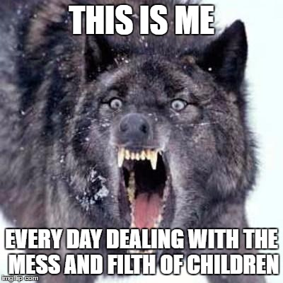 AHHHHHHHHHHHH!!! | THIS IS ME EVERY DAY DEALING WITH THE MESS AND FILTH OF CHILDREN | image tagged in angry wolf,memes | made w/ Imgflip meme maker