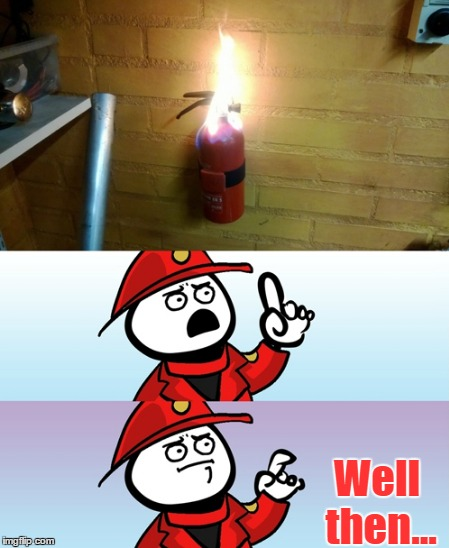 Can't Argue With That Firefighter | Well then... | image tagged in memes,firefighter,fire extinguisher,fire,can't argue with that,funny | made w/ Imgflip meme maker