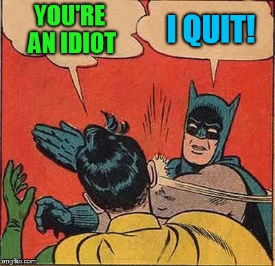 Batman Slapping Robin Meme | YOU'RE AN IDIOT I QUIT! | image tagged in memes,batman slapping robin | made w/ Imgflip meme maker