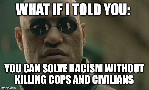 Matrix Morpheus | WHAT IF I TOLD YOU: YOU CAN SOLVE RACISM WITHOUT KILLING COPS AND CIVILIANS | image tagged in memes,matrix morpheus | made w/ Imgflip meme maker
