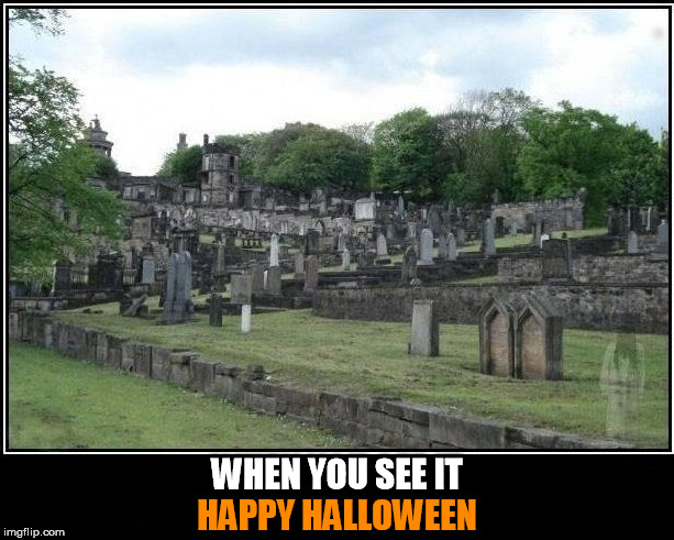WHEN YOU SEE IT; HAPPY HALLOWEEN | image tagged in halloween,happy halloween,ghost,ghosts,cemetary,when you see it | made w/ Imgflip meme maker