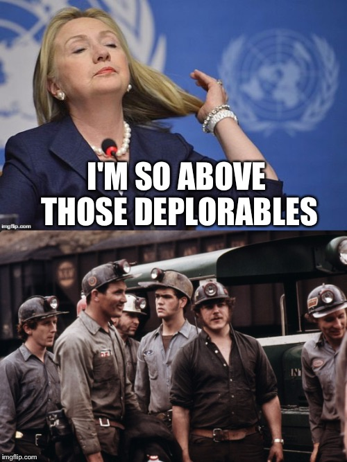 Looking down the long nose of a politician | I'M SO ABOVE THOSE DEPLORABLES | image tagged in hillary clinton,coal,basket of deplorables | made w/ Imgflip meme maker