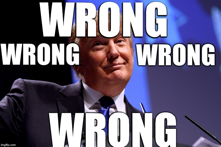 Trump all last night |  WRONG; WRONG; WRONG; WRONG | image tagged in donald trump no2,memes | made w/ Imgflip meme maker