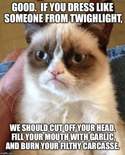 Grumpy Cat Meme | GOOD.  IF YOU DRESS LIKE SOMEONE FROM TWIGHLIGHT, WE SHOULD CUT OFF YOUR HEAD, FILL YOUR MOUTH WITH GARLIC, AND BURN YOUR FILTHY CARCASSE. | image tagged in memes,grumpy cat | made w/ Imgflip meme maker