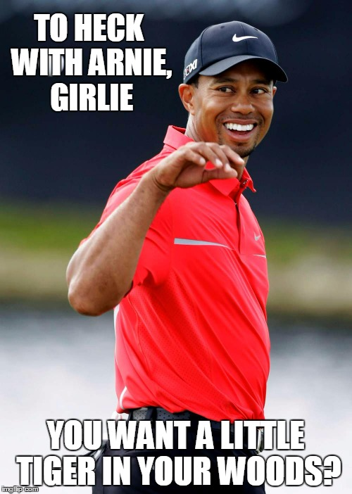 TO HECK WITH ARNIE, GIRLIE YOU WANT A LITTLE TIGER IN YOUR WOODS? | made w/ Imgflip meme maker