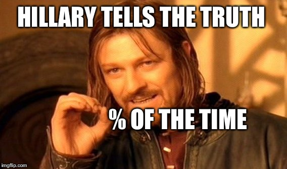 One Does Not Simply Meme | HILLARY TELLS THE TRUTH % OF THE TIME | image tagged in memes,one does not simply | made w/ Imgflip meme maker