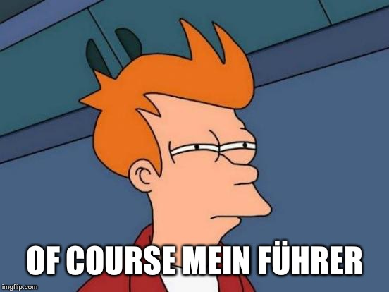 Futurama Fry Meme | OF COURSE MEIN FÜHRER | image tagged in memes,futurama fry | made w/ Imgflip meme maker