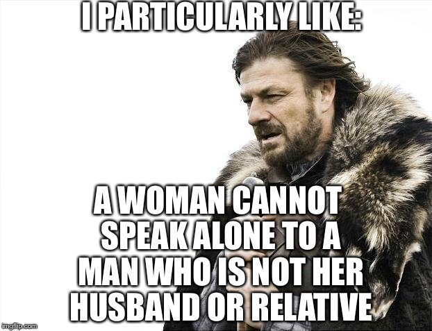 Brace Yourselves X is Coming Meme | I PARTICULARLY LIKE: A WOMAN CANNOT SPEAK ALONE TO A MAN WHO IS NOT HER HUSBAND OR RELATIVE | image tagged in memes,brace yourselves x is coming | made w/ Imgflip meme maker