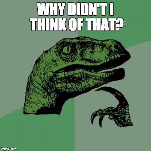 Philosoraptor Meme | WHY DIDN'T I THINK OF THAT? | image tagged in memes,philosoraptor | made w/ Imgflip meme maker