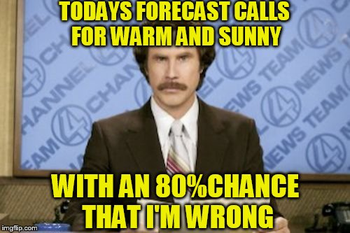 Wrong half the time and still gets paid | TODAYS FORECAST CALLS FOR WARM AND SUNNY WITH AN 80%CHANCE THAT I'M WRONG | image tagged in memes,ron burgundy | made w/ Imgflip meme maker