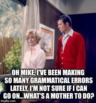 OH MIKE, I'VE BEEN MAKING SO MANY GRAMMATICAL ERRORS LATELY, I'M NOT SURE IF I CAN GO ON...WHAT'S A MOTHER TO DO? | made w/ Imgflip meme maker