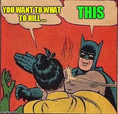 Batman Slapping Robin Meme | YOU WANT TO WHAT TO HILL ... THIS | image tagged in memes,batman slapping robin | made w/ Imgflip meme maker