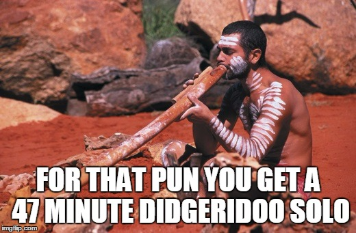FOR THAT PUN YOU GET A 47 MINUTE DIDGERIDOO SOLO | made w/ Imgflip meme maker