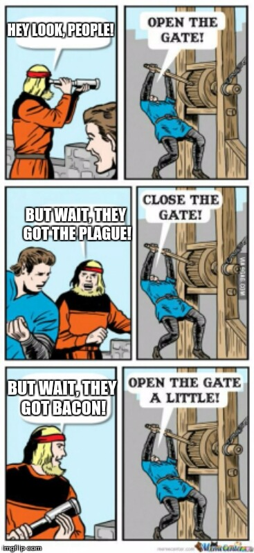 I was learning about the plague in history class. That's where I got the meme idea. | HEY LOOK, PEOPLE! BUT WAIT, THEY GOT THE PLAGUE! BUT WAIT, THEY GOT BACON! | image tagged in open the gate a little,memes,funny,medieval problems,bacon,open the gate | made w/ Imgflip meme maker