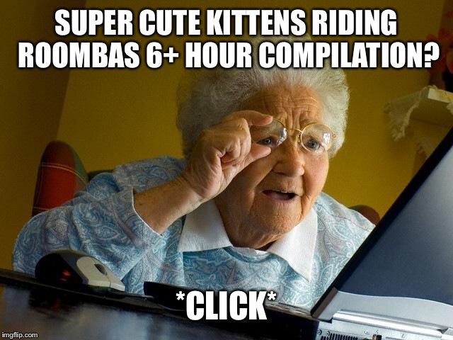 Grandma Finds The Internet Meme | SUPER CUTE KITTENS RIDING ROOMBAS 6+ HOUR COMPILATION? *CLICK* | image tagged in memes,grandma finds the internet | made w/ Imgflip meme maker