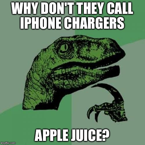 Philosoraptor Meme | WHY DON'T THEY CALL IPHONE CHARGERS APPLE JUICE? | image tagged in memes,philosoraptor | made w/ Imgflip meme maker