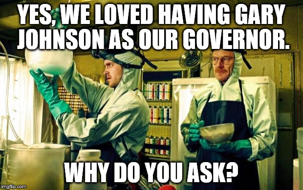 breaking bad | YES, WE LOVED HAVING GARY JOHNSON AS OUR GOVERNOR. WHY DO YOU ASK? | image tagged in breaking bad | made w/ Imgflip meme maker
