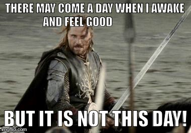 Aragorn |  THERE MAY COME A DAY WHEN I AWAKE AND FEEL GOOD; BUT IT IS NOT THIS DAY! | image tagged in aragorn | made w/ Imgflip meme maker