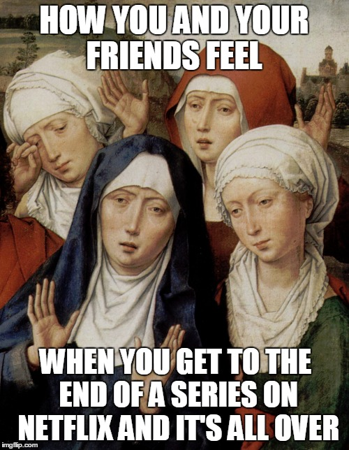Back to Reality | HOW YOU AND YOUR FRIENDS FEEL WHEN YOU GET TO THE END OF A SERIES ON NETFLIX AND IT'S ALL OVER | image tagged in meme,netflix,binge watching,medieval memes | made w/ Imgflip meme maker