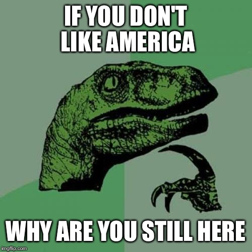 Philosoraptor Meme | IF YOU DON'T LIKE AMERICA WHY ARE YOU STILL HERE | image tagged in memes,philosoraptor | made w/ Imgflip meme maker