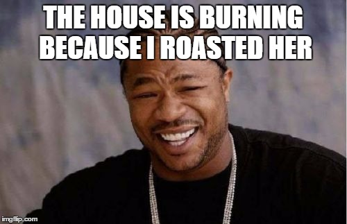 THE HOUSE IS BURNING BECAUSE I ROASTED HER | image tagged in memes,yo dawg heard you | made w/ Imgflip meme maker