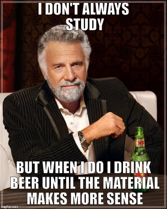 The Most Interesting Man In The World Meme | I DON'T ALWAYS STUDY BUT WHEN I DO I DRINK BEER UNTIL THE MATERIAL MAKES MORE SENSE | image tagged in memes,the most interesting man in the world | made w/ Imgflip meme maker