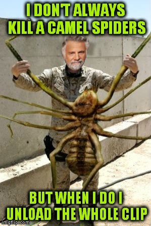 I DON'T ALWAYS KILL A CAMEL SPIDERS BUT WHEN I DO I UNLOAD THE WHOLE CLIP | made w/ Imgflip meme maker