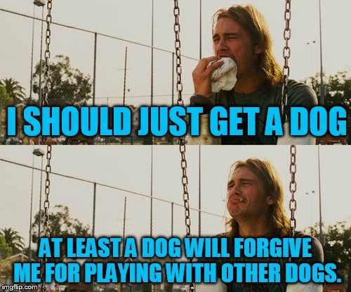 First World Stoner Problems Meme | I SHOULD JUST GET A DOG AT LEAST A DOG WILL FORGIVE ME FOR PLAYING WITH OTHER DOGS. | image tagged in memes,first world stoner problems | made w/ Imgflip meme maker