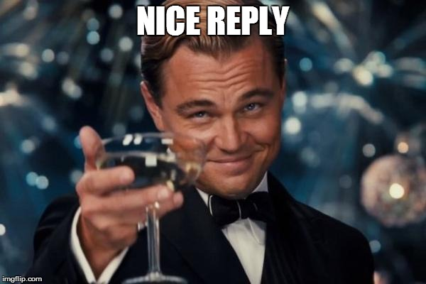 Leonardo Dicaprio Cheers Meme | NICE REPLY | image tagged in memes,leonardo dicaprio cheers | made w/ Imgflip meme maker