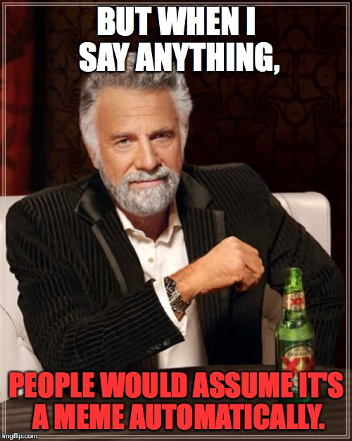The Most Interesting Man In The World Meme | BUT WHEN I SAY ANYTHING, PEOPLE WOULD ASSUME IT'S A MEME AUTOMATICALLY. | image tagged in memes,the most interesting man in the world | made w/ Imgflip meme maker