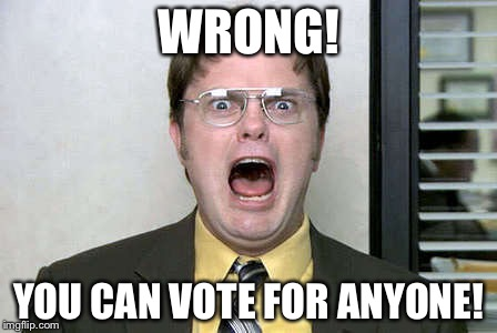 WRONG! YOU CAN VOTE FOR ANYONE! | made w/ Imgflip meme maker