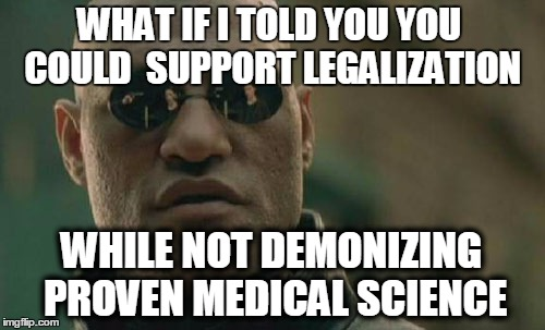 Matrix Morpheus Meme | WHAT IF I TOLD YOU YOU COULD SUPPORT LEGALIZATION WHILE NOT DEMONIZING PROVENMEDICAL SCIENCE | image tagged in memes,matrix morpheus | made w/ Imgflip meme maker