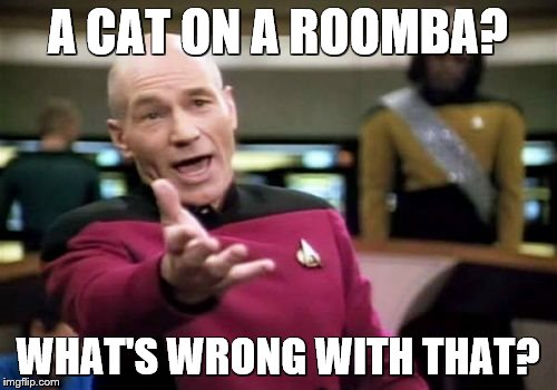 Picard Wtf Meme | A CAT ON A ROOMBA? WHAT'S WRONG WITH THAT? | image tagged in memes,picard wtf | made w/ Imgflip meme maker