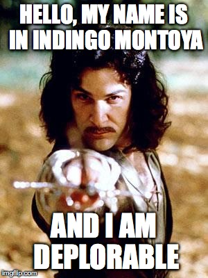Inigo Montoya |  HELLO, MY NAME IS IN INDINGO MONTOYA; AND I AM DEPLORABLE | image tagged in inigo montoya | made w/ Imgflip meme maker