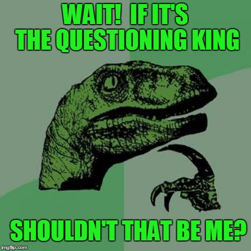 Philosoraptor Meme | WAIT!  IF IT'S THE QUESTIONING KING SHOULDN'T THAT BE ME? | image tagged in memes,philosoraptor | made w/ Imgflip meme maker