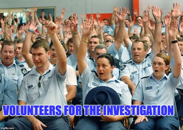 VOLUNTEERS FOR THE INVESTIGATION | made w/ Imgflip meme maker