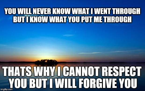 Inspirational Quote |  YOU WILL NEVER KNOW WHAT I WENT THROUGH BUT I KNOW WHAT YOU PUT ME THROUGH; THATS WHY I CANNOT RESPECT YOU BUT I WILL FORGIVE YOU | image tagged in inspirational quote | made w/ Imgflip meme maker