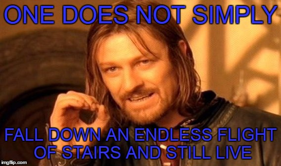 One Does Not Simply Meme |  ONE DOES NOT SIMPLY; FALL DOWN AN ENDLESS FLIGHT OF STAIRS AND STILL LIVE | image tagged in memes,one does not simply | made w/ Imgflip meme maker