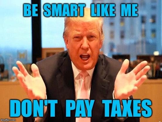 GOOD ADVICE TRUMP | BE  SMART  LIKE  ME DON'T  PAY  TAXES | image tagged in donald trump,businessman | made w/ Imgflip meme maker