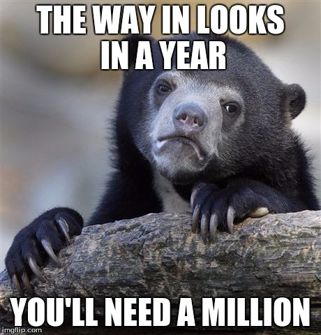Confession Bear Meme | THE WAY IN LOOKS IN A YEAR YOU'LL NEED A MILLION | image tagged in memes,confession bear | made w/ Imgflip meme maker