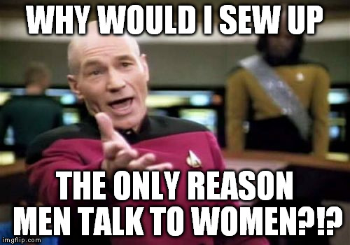 Picard Wtf Meme | WHY WOULD I SEW UP THE ONLY REASON MEN TALK TO WOMEN?!? | image tagged in memes,picard wtf | made w/ Imgflip meme maker