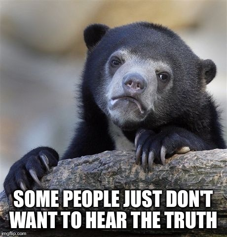 Confession Bear Meme | SOME PEOPLE JUST DON'T WANT TO HEAR THE TRUTH | image tagged in memes,confession bear | made w/ Imgflip meme maker