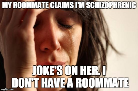 First World Problems Meme | MY ROOMMATE CLAIMS I'M SCHIZOPHRENIC JOKE'S ON HER. I DON'T HAVE A ROOMMATE | image tagged in memes,first world problems | made w/ Imgflip meme maker