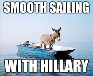 DONKEY ON A BOAT | SMOOTH SAILING WITH HILLARY | image tagged in donkey on a boat | made w/ Imgflip meme maker