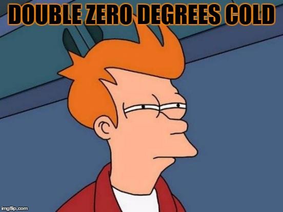 Futurama Fry Meme | DOUBLE ZERO DEGREES COLD | image tagged in memes,futurama fry | made w/ Imgflip meme maker