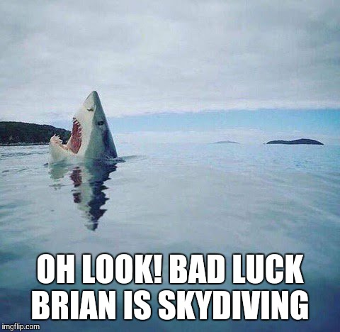 shark_head_out_of_water | OH LOOK! BAD LUCK BRIAN IS SKYDIVING | image tagged in shark_head_out_of_water | made w/ Imgflip meme maker